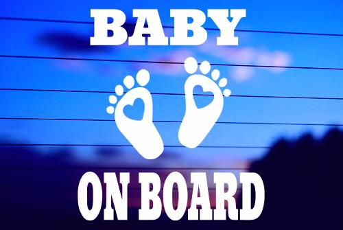BABY ON BOARD – FEET CAR DECAL STICKER
