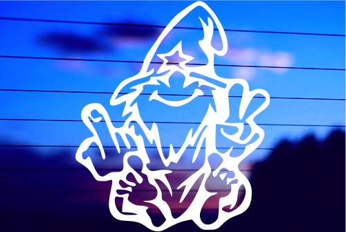 WIZARD GIVING THE FINGER CAR DECAL STICKER