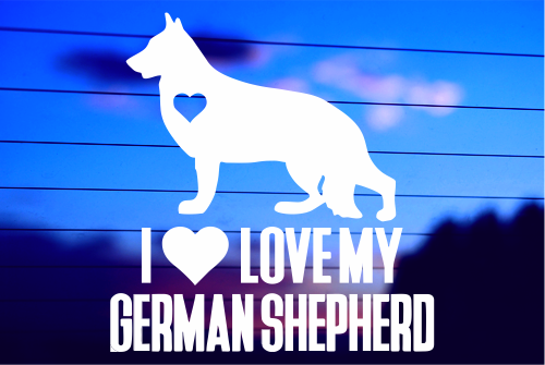 LOVE MY GERMAN SHEPHERD CAR DECAL STICKER