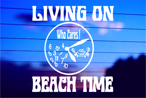 LIVING ON BEACH TIME CAR DECAL STICKER