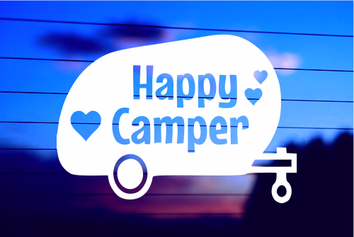 HAPPY CAMPER CAR DECAL STICKER
