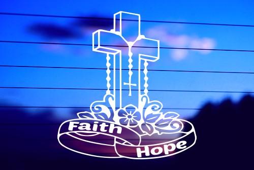 CROSS WITH ROSARY – FAITH & HOPE CAR DECAL STICKER