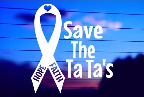 SAVE THE TA TA'S CAR DECAL STICKER