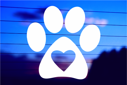 PAW WITH HEART CAR DECAL STICKER