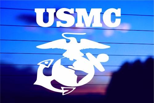 Usmc And Symbol Car Decal Sticker