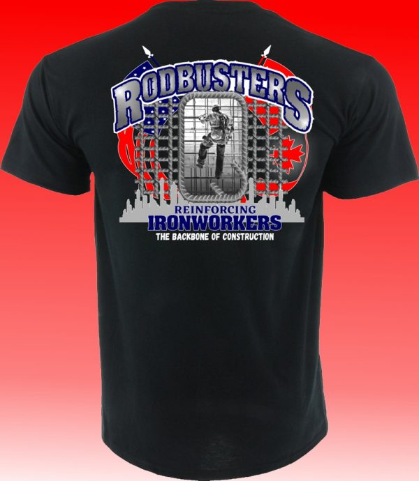 "Rodbusters ""Made In The U.S.A"" Ironworkers American/Canadian Flag T-Shirt"