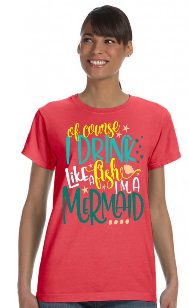 Of Course I Drink Like A Fish, I'm A Mermaid (Girls) Ladies Summer T-Shirt