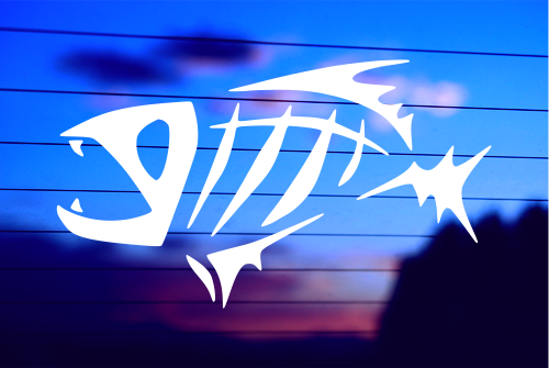Skeleton Fish High Quality Vinyl Decal for cars, trucks, laptops, helmets, tool boxes, or any hard, smooth surface