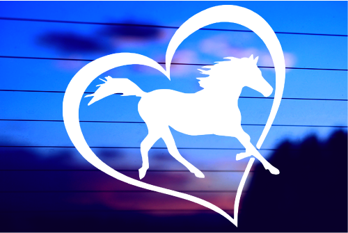 HORSE HEART Silhouette Die Cut Decal Sticker for Laptop Car Window Tablet Skateboard